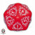 Dado Jumbo D20 Red & White Card Game Level Counter